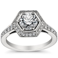 Vintage Hexagon Halo Engagement Ring in Platinum