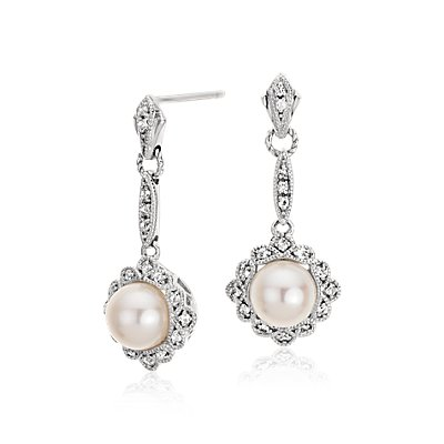 Freshwater Cultured Pearl Vintage-Inspired Earrings in Sterling Silver