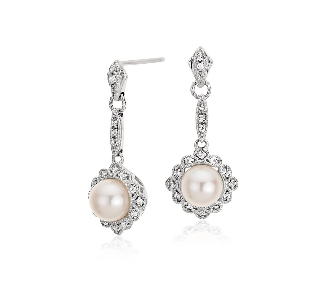 Vintage-Inspired Freshwater Cultured Pearl Earrings in Sterling Silver