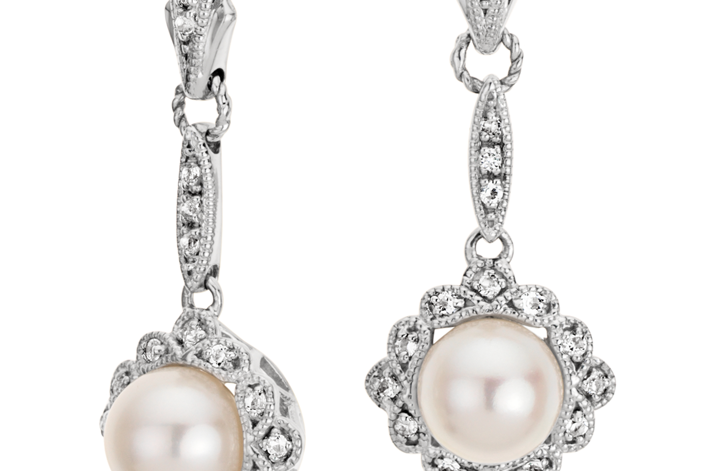 Vintage-Inspired Freshwater Cultured Pearl Earrings in Sterling Silver (6mm)