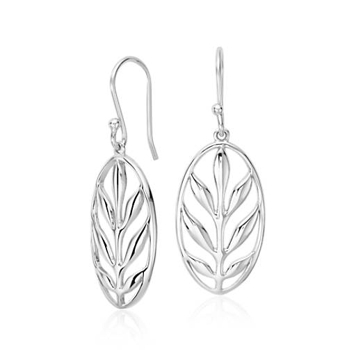 Vintage Leaf Earrings in Sterling Silver