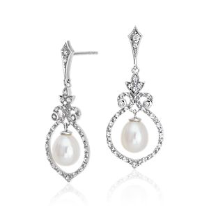 Vintage-Inspired Freshwater Cultured Pearl and White Topaz Chandelier Earrings in Sterling Silver (6mm)