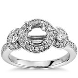 Three Stone Milgrain Halo Diamond Engagement Ring in 14k White Gold
