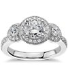 Three Stone Milgrain Halo Engagement Ring in 14k White Gold