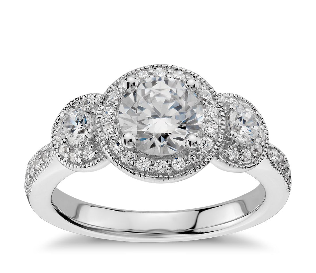 Three Stone Milgrain Halo Diamond Engagement Ring In 14k