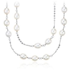 Vintage-Style Freshwater Cultured Pearl Necklace in Sterling Silver