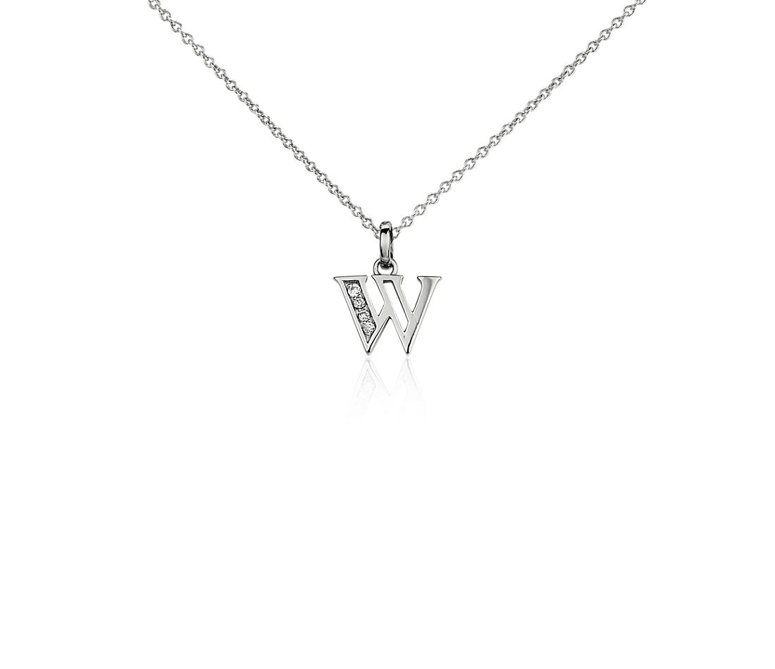 "Mini Initial ""W"" Diamond Pendant in 14k White Gold"