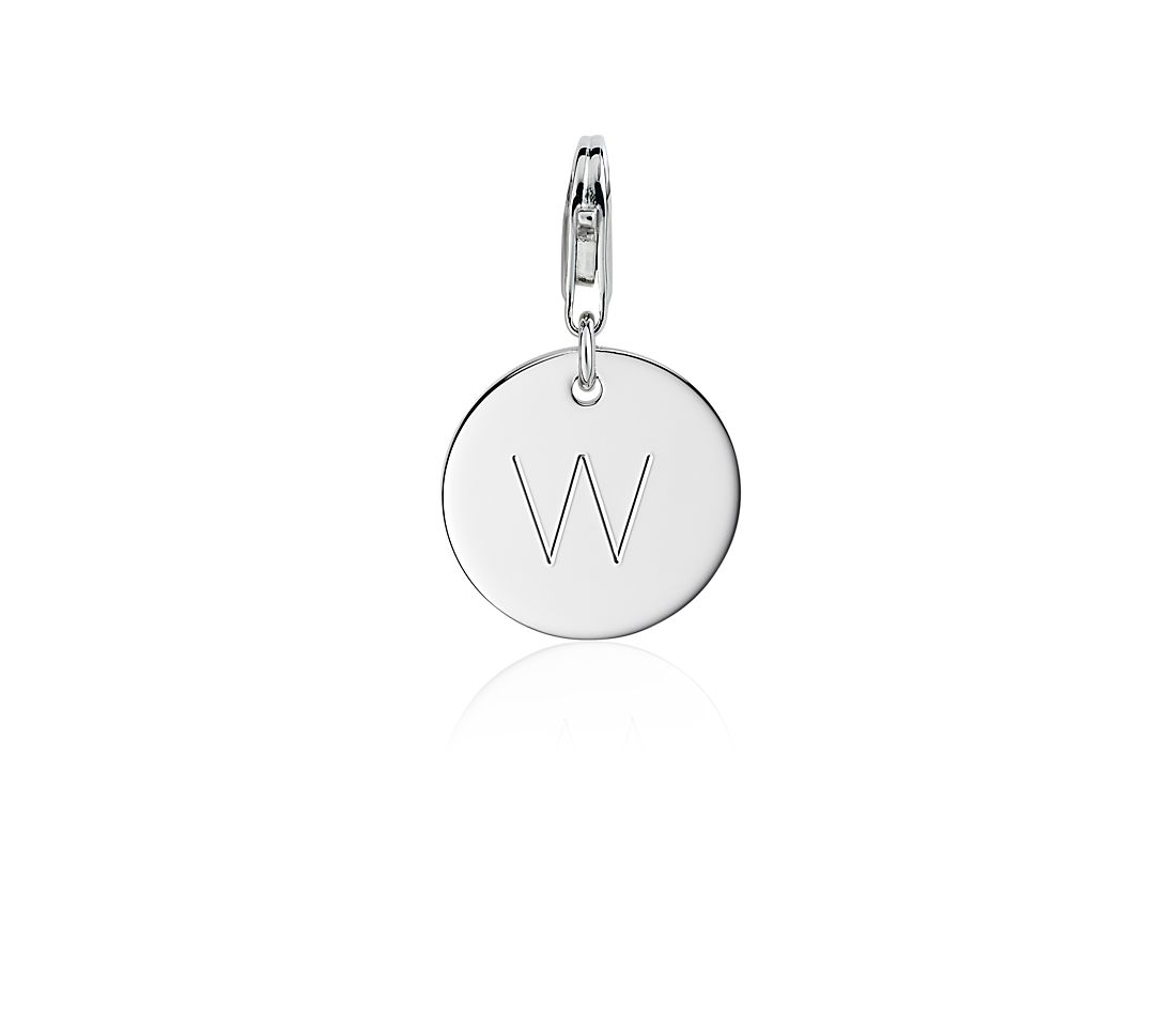 """W"" Initial Charm in Sterling Silver"