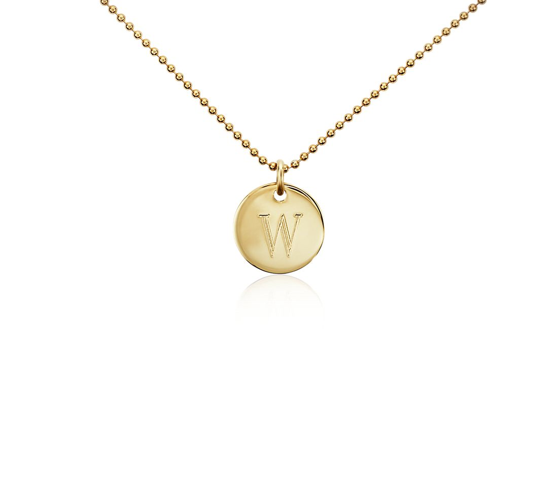 """W"" Mini Initial Pendant in Gold Vermeil"