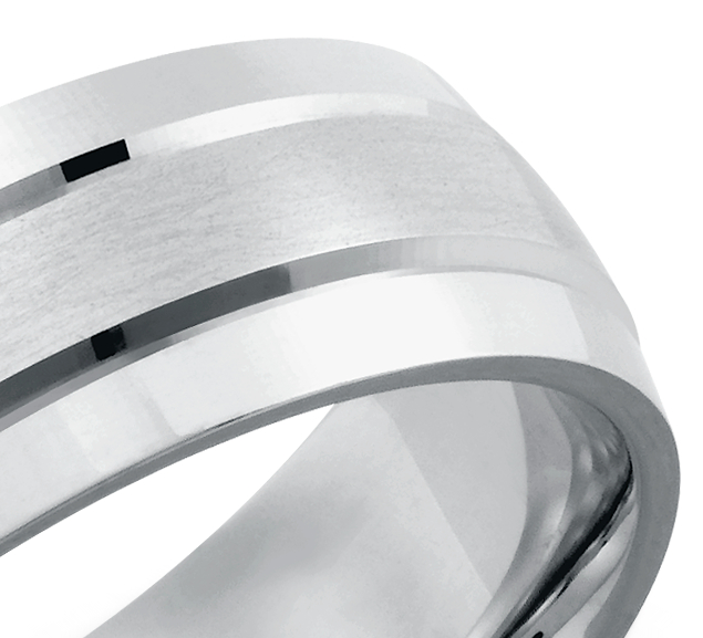 Double Inlay Comfort Fit Wedding Ring in 14k White Gold (7 mm)