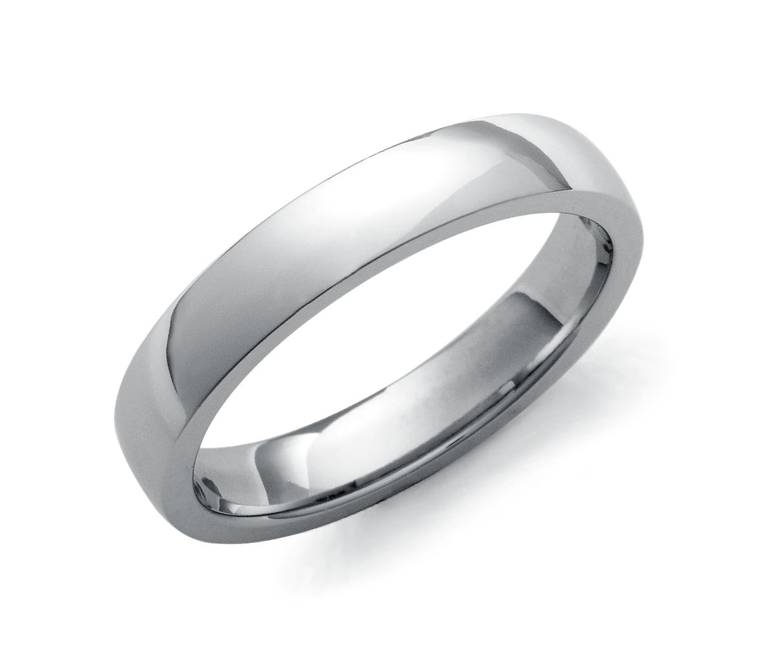 Alliance confort dôme simple en or blanc 14 carats (4 mm)