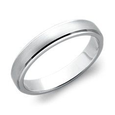 Brushed Finish with Polished Edge Wedding Ring in 14k White Gold (4mm)