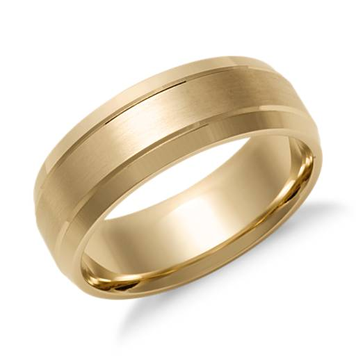 Double Inlay Comfort Fit Wedding Ring in 14k Yellow Gold (7 mm)