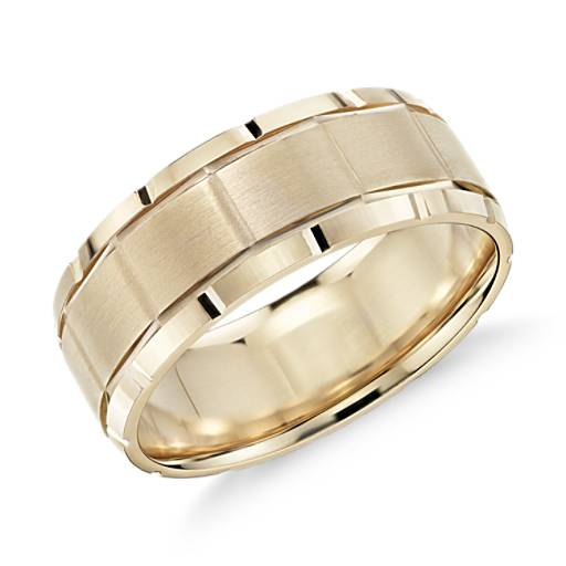 Td123864w 14k White Gold Double Milgrain 4mm Comfort Fit: Hammered Milgrain Comfort Fit Wedding Ring In 14k Yellow
