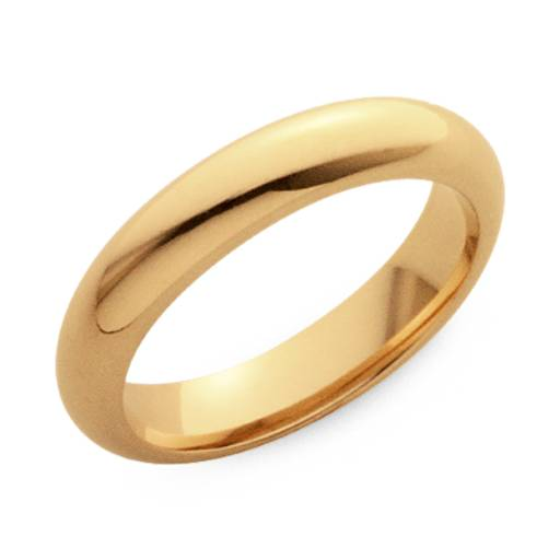 Domed Comfort Fit Wedding Ring in 18k Gold (4mm)