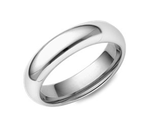 Domed Comfort Fit Wedding Ring in Platinum (5mm)
