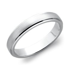 Brushed Finish with Polished Edge Wedding Ring in Platinum (4mm)