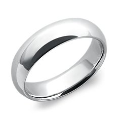 Domed Comfort Fit Wedding Ring in Platinum (6mm)