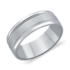 Milgrained Wedding Ring in Platinum (7mm)