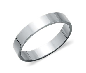 Flat Wedding Ring in Platinum (4mm)