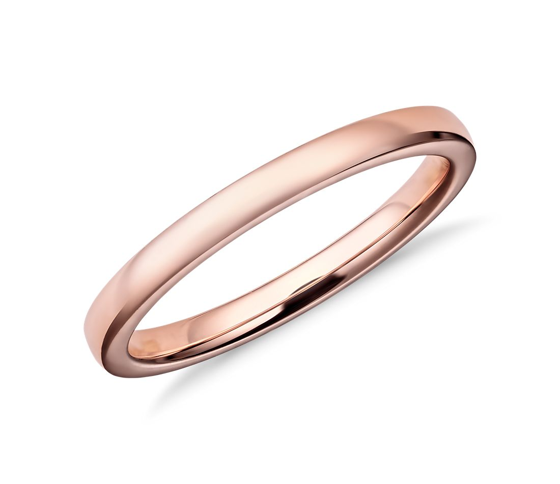 low dome comfort fit wedding ring in 14k rose gold 2mm blue nile