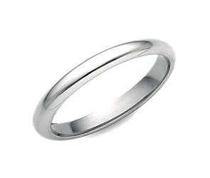 Classic Comfort Fit Wedding Ring in 18k White Gold (2.5mm)