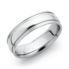 Ridged Wedding Ring in 18k White Gold (6mm)