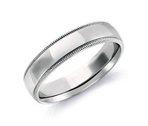 Comfort Fit Milgrain Wedding Ring in 18k White Gold (5mm)