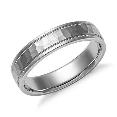 Hammered Milgrain Comfort Fit Wedding Ring in 14k White Gold (5mm)