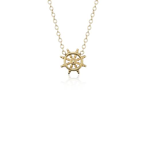 Nautical Ship Wheel Necklace in 14k Yellow Gold