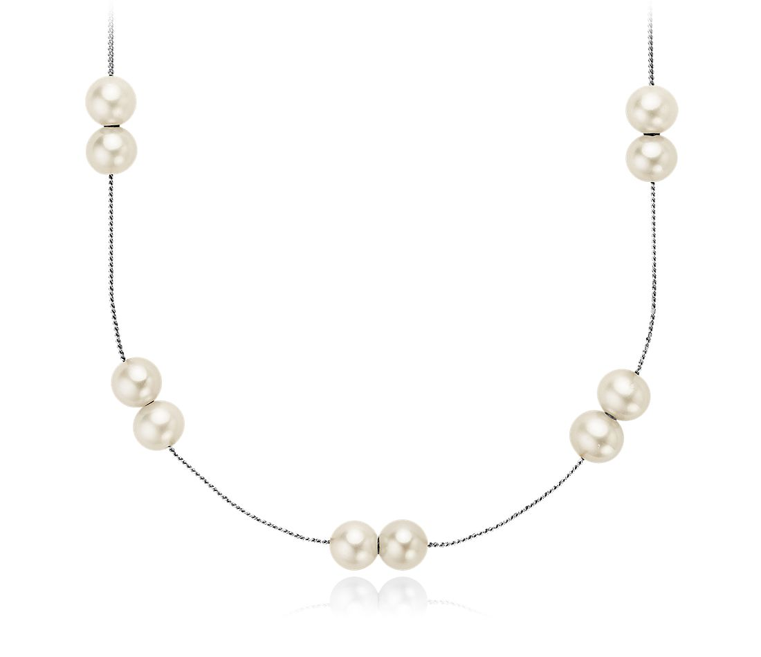 "Freshwater Cultured Pearl Necklace with Sterling Silver - 24"" Long"