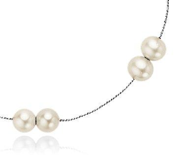Collar de perlas cultivadas de agua dulce con plata de ley - 24