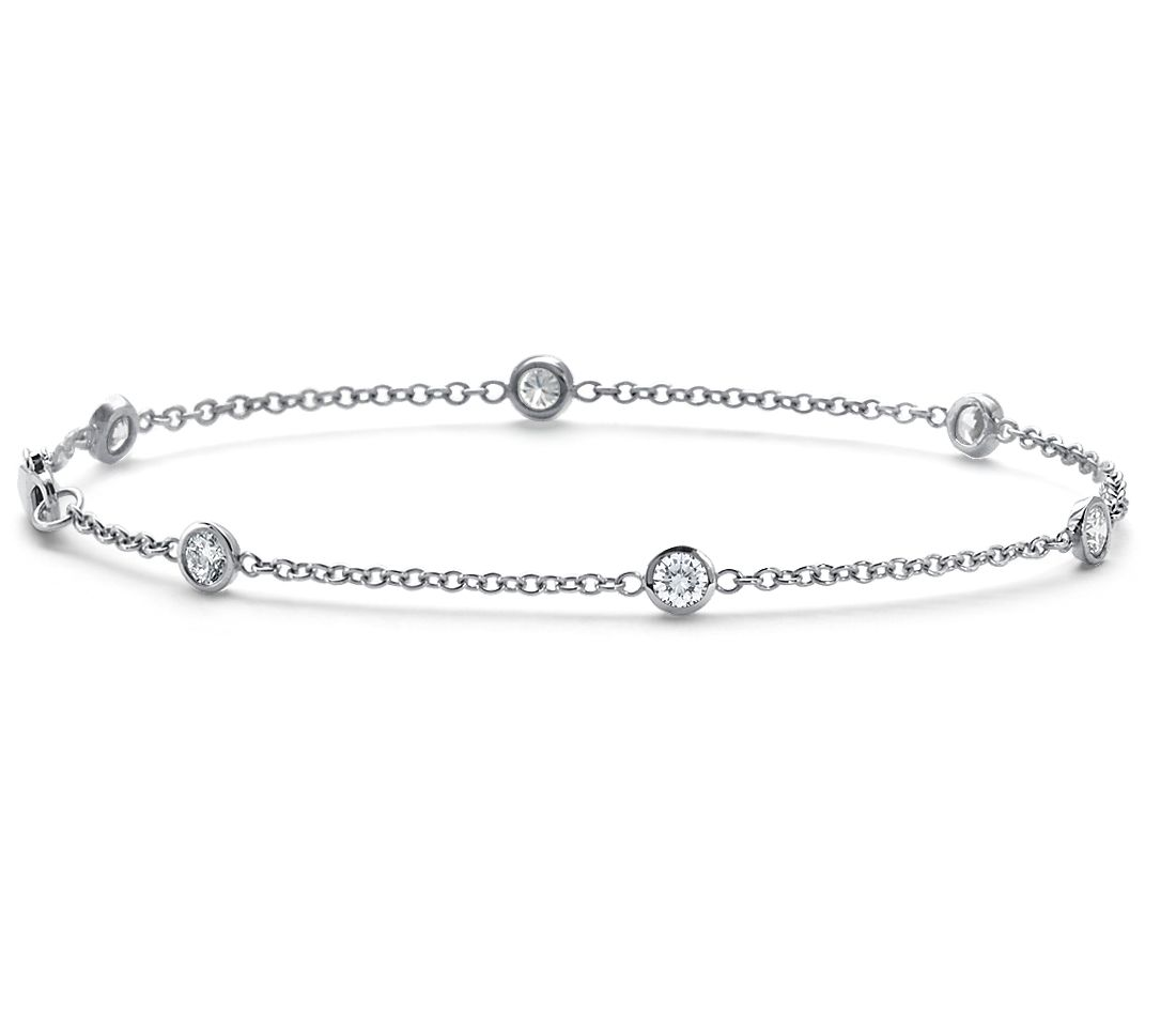 Bezel-Set Diamond Bracelet in 18k White Gold (5/8 ct. tw ...