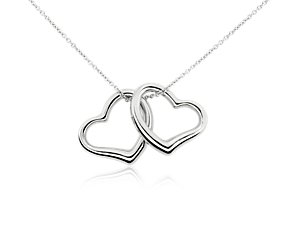 Classic Double Heart Pendant in 14k White Gold