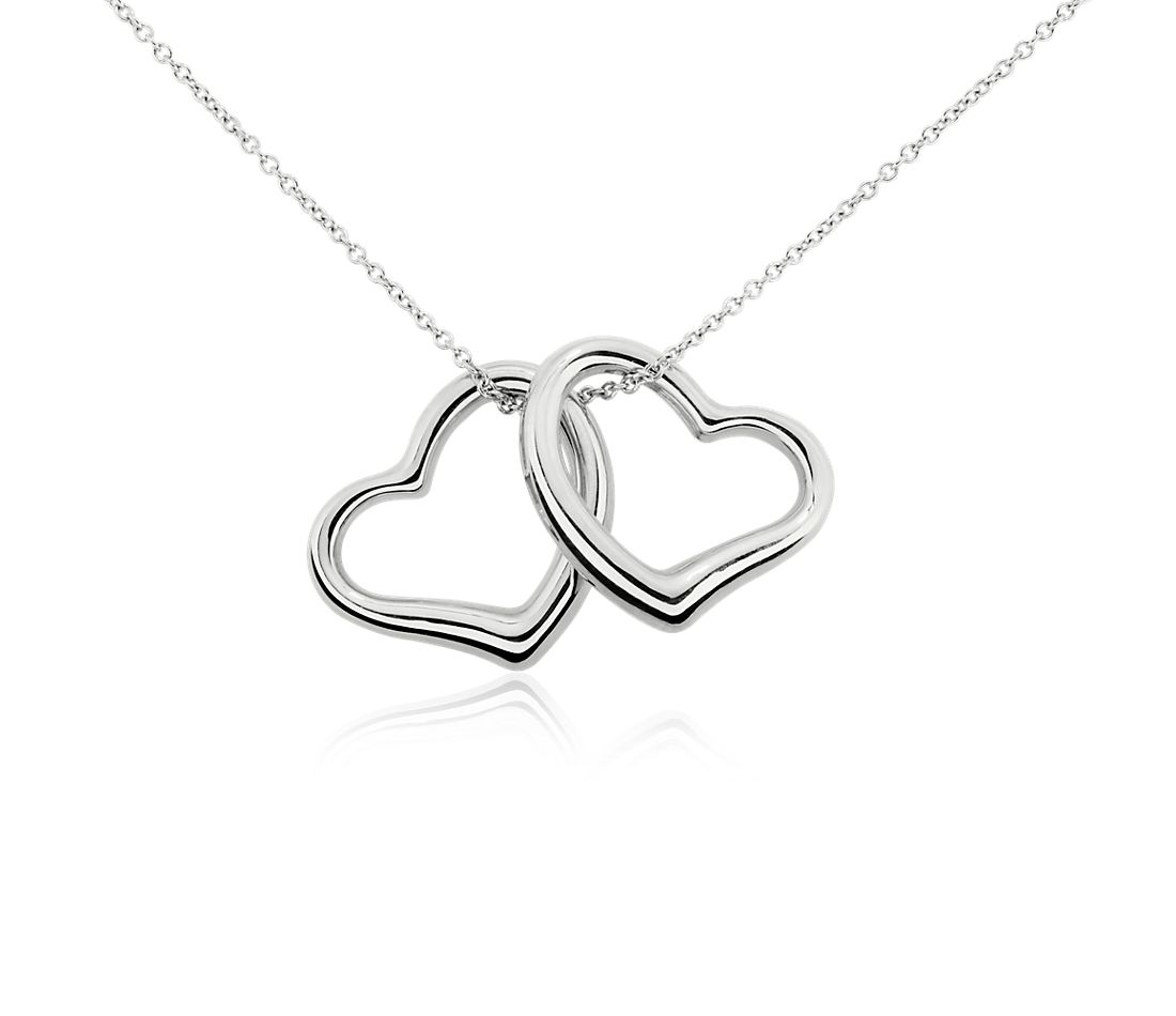 Duo Heart Pendant in 14k White Gold