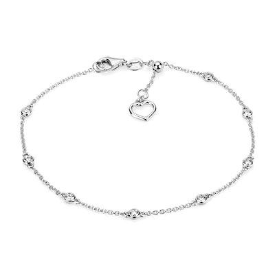 NUEVO. Brazalete con adornos de diamantes y corazón, en oro blanco de 14k (1/4 qt. total)