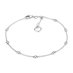 NEW Diamond Station and Heart Bracelet in 14k White Gold (1/4 ct. tw.)