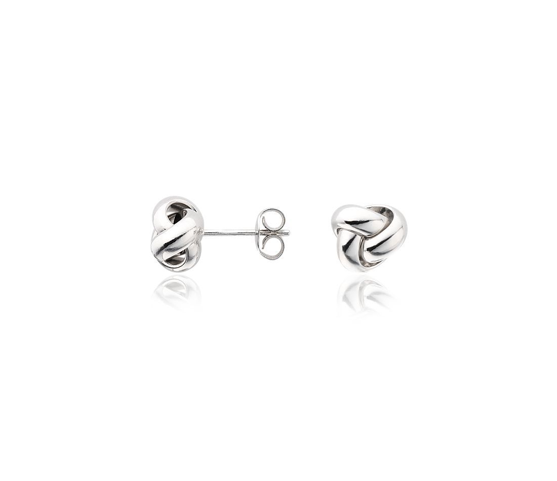 Love Knot Stud Earrings in 14k White Gold