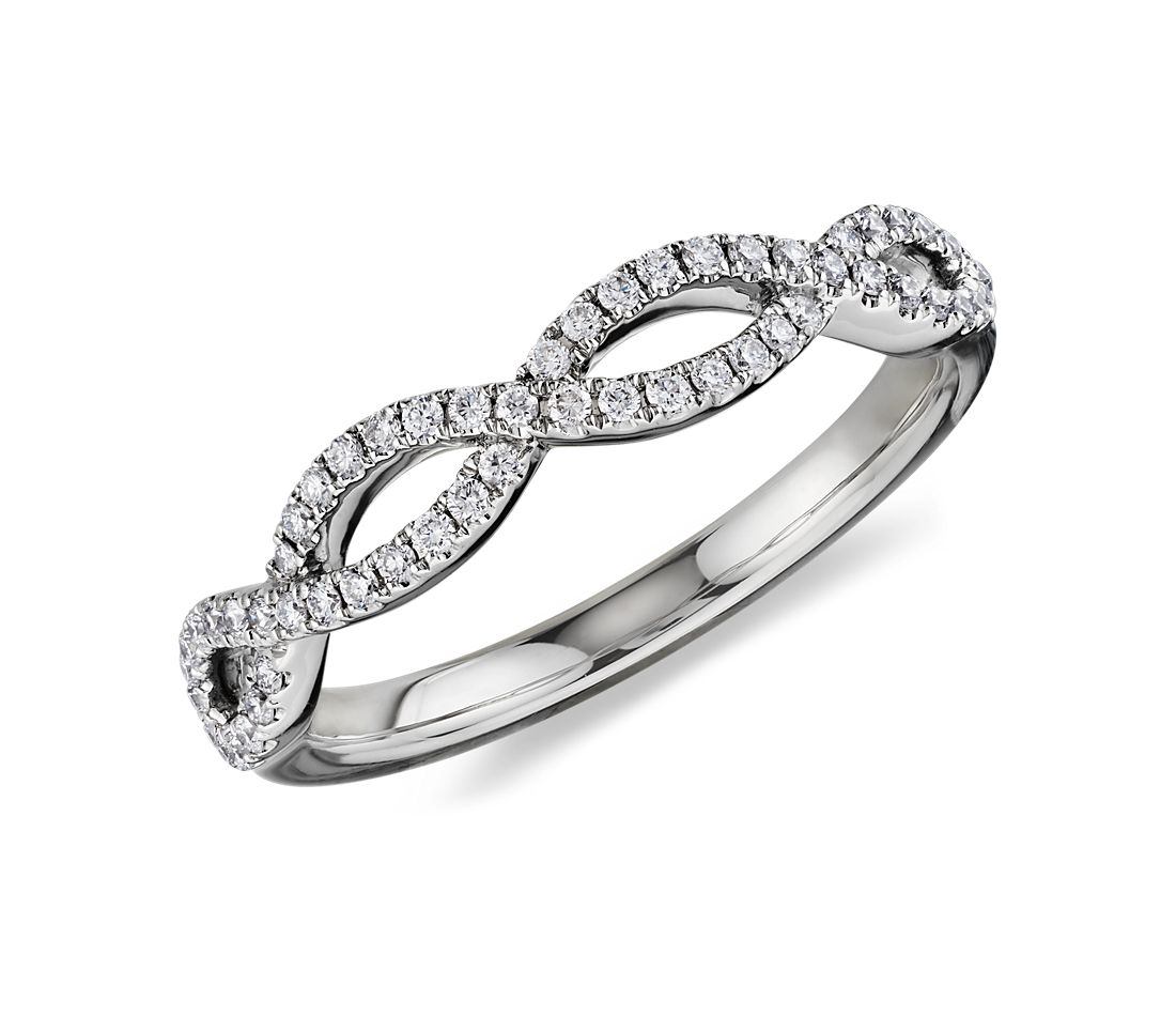 Infinity Twist Micropavé Diamond Wedding Ring in 14k White Gold