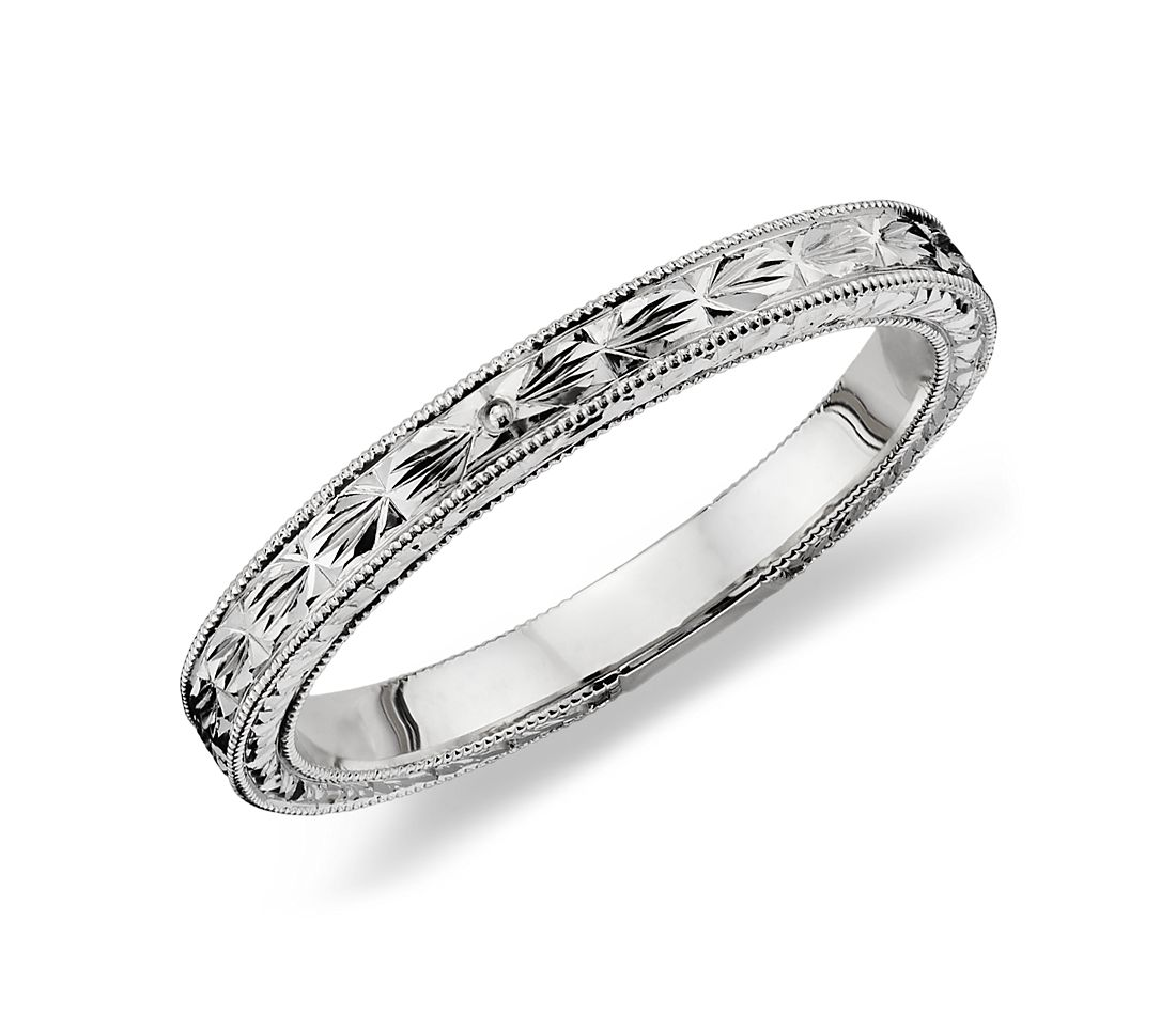 Hand engraved wedding ring in 14k white gold blue nile for Engravings on wedding rings