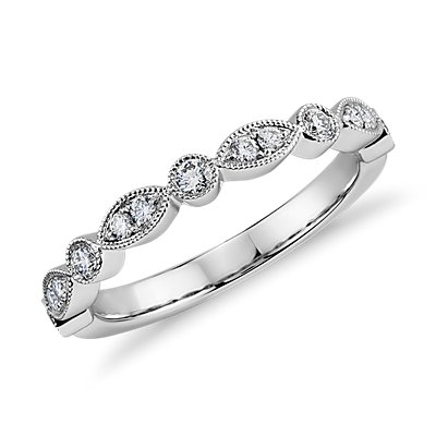 Milgrain Marquise and Dot Diamond Ring in 14k White Gold (1/5 ct. tw.)