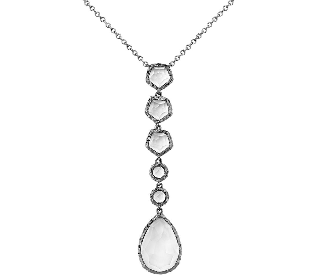 White Quartz Dangle Pendant in Rhodium Sterling Silver