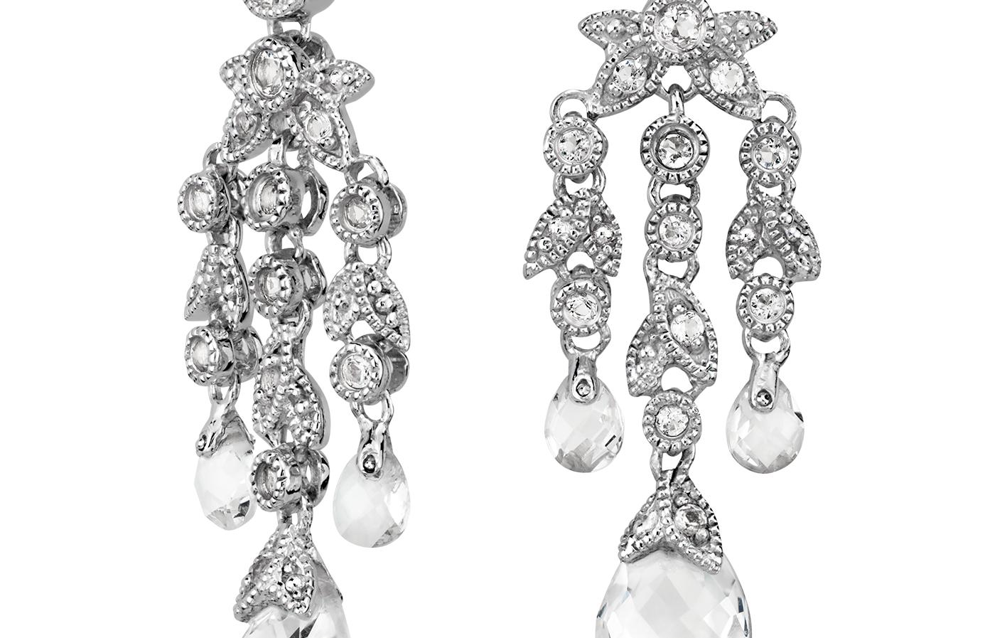 Pendants d'oreilles quartz blanc vintage en argent sterling (8x6mm)