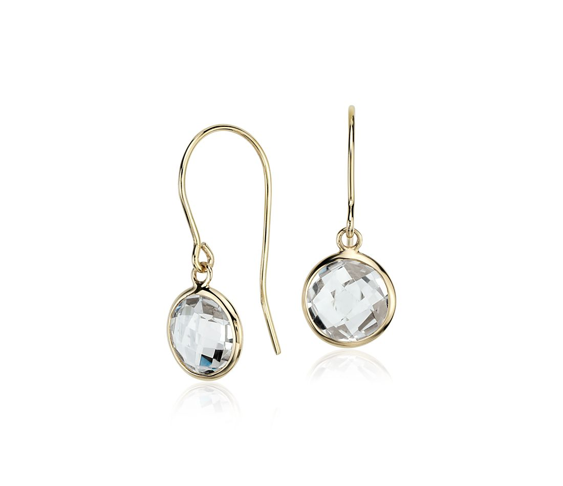 White Topaz Solitaire Earrings in 14k Yellow Gold