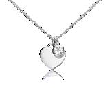 White Topaz Birthstone Heart Pendant in Sterling Silver (April) (4.5x4.5mm)