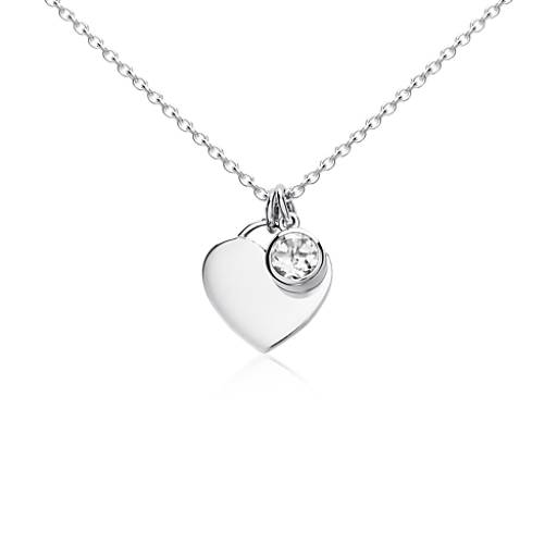 White Topaz Birthstone Heart Pendant in Sterling Silver (April)