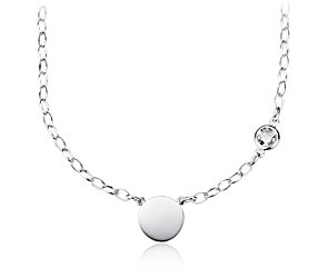White Topaz Birthstone Necklace in Sterling Silver