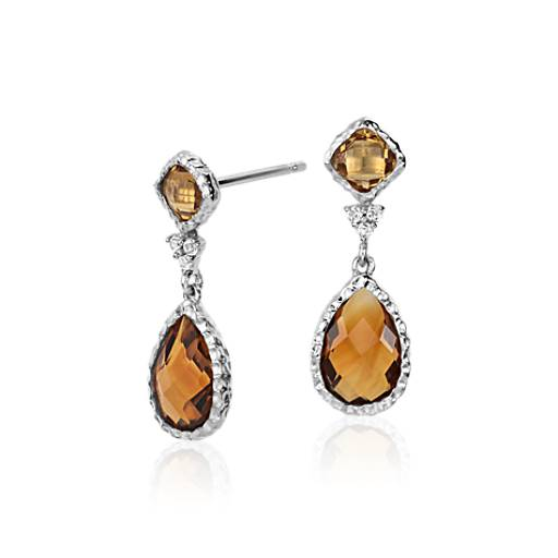 Madeira Citrine, Citrine, and White Topaz Dangle Earrings in Sterling Silver (9x6mm)