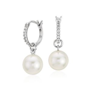 Freshwater Cultured Pearl and White Topaz Hoop Earrings in Sterling Silver