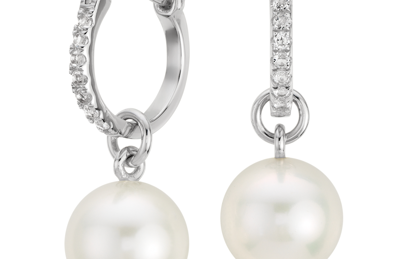 Freshwater Cultured Pearl and White Topaz Hoop Earrings in Sterling Silver (9mm)